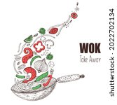 wok pan and ingredients for wok ... | Shutterstock .eps vector #2022702134