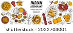 indian food illustration. hand... | Shutterstock .eps vector #2022703001