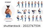 african american black student...   Shutterstock .eps vector #2022767534