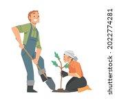 man and woman volunteer... | Shutterstock .eps vector #2022774281