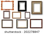 set of wooden frame isolated on ...   Shutterstock . vector #202278847