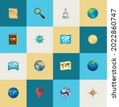 icon set world maps  atlas | Shutterstock .eps vector #2022860747