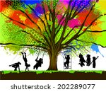 childhood. colorful tree. vector | Shutterstock .eps vector #202289077