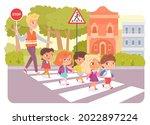 kid group leading by teacher on ... | Shutterstock .eps vector #2022897224