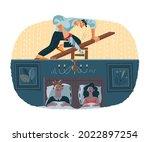 loud noisy neighbour doing...   Shutterstock .eps vector #2022897254