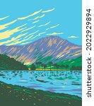 art deco or wpa poster of lake... | Shutterstock .eps vector #2022929894