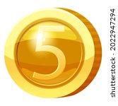gold medal coin number 5 symbol....