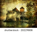 mysterious castle on the lake - artwork in painting style - stock photo