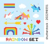 pixel art rainbow isolated... | Shutterstock .eps vector #202298551