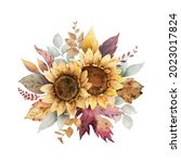 watercolor autumn bouquet with... | Shutterstock . vector #2023017824