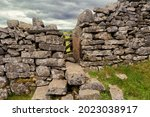 Limestone Stile In Stone Wall...