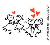 hand drawing cartoon concept... | Shutterstock .eps vector #202308724
