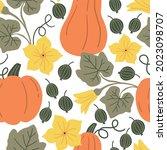 vector autumn seamless pattern... | Shutterstock .eps vector #2023098707