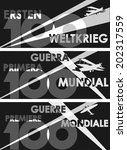 World War One centennial graphic design in German, Spanish and French