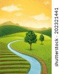 hills river | Shutterstock .eps vector #202321441