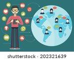 social network flat concept | Shutterstock .eps vector #202321639