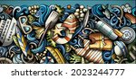 marine hand drawn doodle banner.... | Shutterstock .eps vector #2023244777