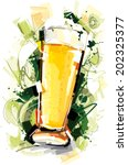 beer glass art | Shutterstock .eps vector #202325377
