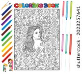 pretty girl coloring book for... | Shutterstock .eps vector #2023257641
