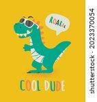 cool dude dinosaur tirannosaur...   Shutterstock .eps vector #2023370054