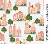 metropolis buildings and trees...   Shutterstock .eps vector #2023393421