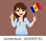 beautiful young happy brunette... | Shutterstock .eps vector #2023459721