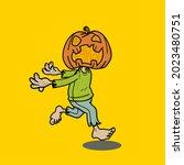 pumpkin head zombie...   Shutterstock .eps vector #2023480751