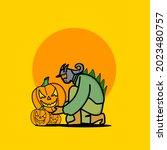 pumpkin head zombie...   Shutterstock .eps vector #2023480757