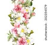floral seamless watercolor... | Shutterstock . vector #202354579