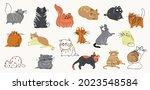 cute cats watercolor doodle...   Shutterstock .eps vector #2023548584