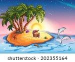 illustration treasure island at ...   Shutterstock . vector #202355164