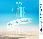 vector summer blurred beach... | Shutterstock .eps vector #202357291