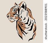 tiger vector hand drown... | Shutterstock .eps vector #2023588901
