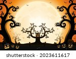 halloween spooky trees and... | Shutterstock .eps vector #2023611617