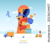 delivery. cargo transportation... | Shutterstock .eps vector #2023614407