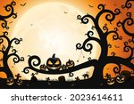 halloween spooky trees and... | Shutterstock .eps vector #2023614611