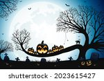 halloween spooky trees and... | Shutterstock .eps vector #2023615427