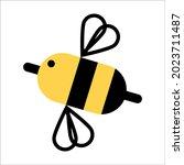 flying bee. honey. vector...   Shutterstock .eps vector #2023711487