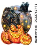 Halloween Watercolor Print With ...
