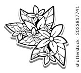 black line small bouquet on... | Shutterstock .eps vector #2023817741