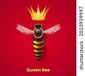 realistic bee queen mother with ... | Shutterstock .eps vector #2023939997