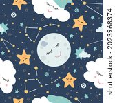 seamless pattern with the moon...   Shutterstock .eps vector #2023968374