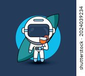 astronaut carrying juice drink. ... | Shutterstock .eps vector #2024039234