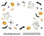 watercolor happy halloween card ... | Shutterstock . vector #2024202554