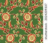 kalamkari seamless pattern for...   Shutterstock .eps vector #2024209337