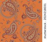 paisley floral oriental ethnic... | Shutterstock . vector #2024218031