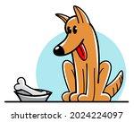 Funny Cartoon Dog Sitting Near...