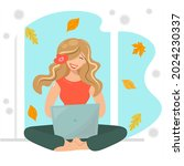 the girl in the lotus position... | Shutterstock .eps vector #2024230337