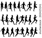 set of silhouettes. runners on... | Shutterstock . vector #202425241