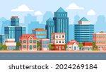 flat city street landscape with ... | Shutterstock .eps vector #2024269184